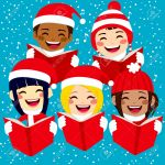 33655453-Five-cute-happy-children-singing-Christmas-carols-with-snowflakes-and-notes-on-background-Stock-Vector